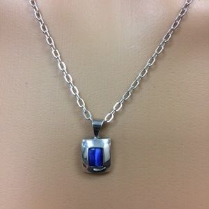 Blue Glass Pendant and Earring Set